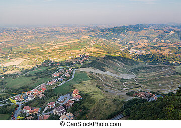 Early summer morning in San Marino. Top view of the city
