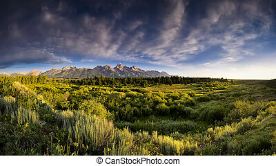 Blacktail Ponds Overlook - Early summer morning panorama of ...