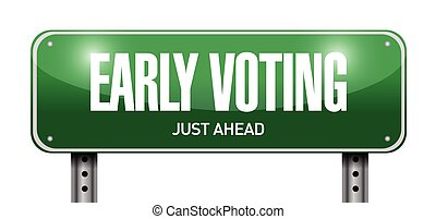 early voting road sign illustration design over a white background