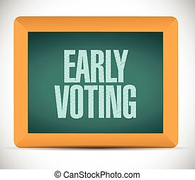 early voting sign message illustration design over a white ...