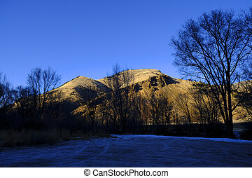 Early Winter Late Autumn Golden Mountain Snowy Ground Blue Sky Beautiful Light