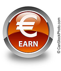 Earn (euro sign) glossy brown round button