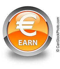 Earn (euro sign) glossy orange round button