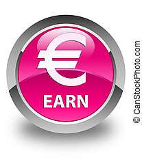 Earn (euro sign) glossy pink round button