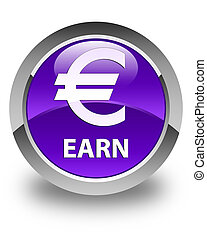 Earn (euro sign) glossy purple round button