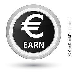 Earn (euro sign) prime black round button