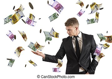 Concept of a businessman that earns money