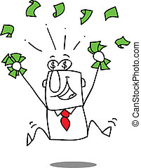 Earn money. - Very happy man under a rain of cash