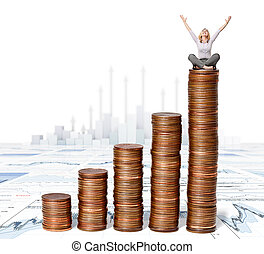 earn money - happy woman sit on euro coin piles
