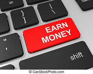 Earn money key on keyboard of laptop computer. 3D...