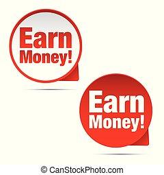 Earn Money label set tag vector