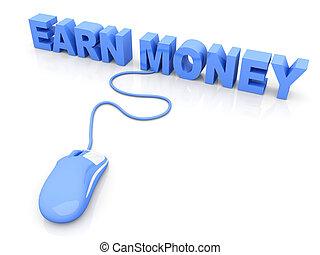 Earn Money online. 3D rendered Illustration. Isolated on white.