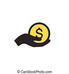 Earn money vector icon, salary symbol. Share hand or giving ...