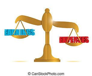 earning and expenses balance illustration design