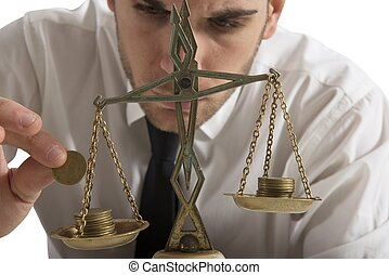 Businessman and earning balance concept