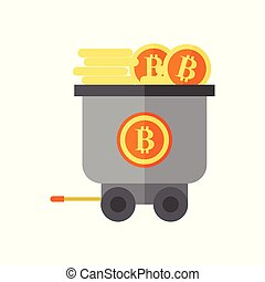 Earning Bitcoin Mining Wagon Vector Illustration Graphic