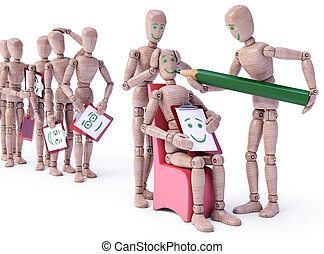 Earning Face And Personality - Row of dolls waiting their...