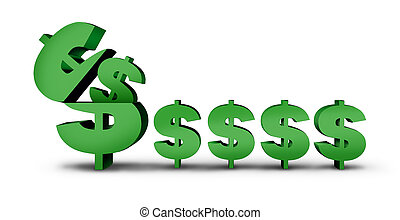 Earning Money and making profit financial concept as an open dollar sign producing smaller income as a 3D illustration.