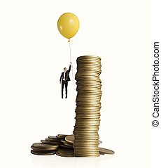 Earning money - Man flying with balloon. concept of earning...