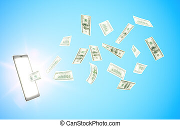Earning money online with digital tablet and dollars