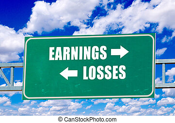 Earnings and losses sign