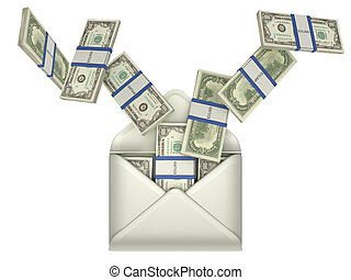 Earnings and money transfer - US dollars in opened envelope over grey