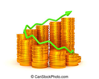 Earnings and success: green graph over golden coins stacks over white