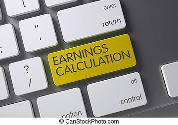 Earnings Calculation Keypad. 3D Illustration.