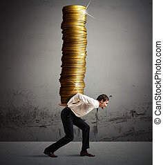 Earnings growth - Businessman carries on his back a stack of...