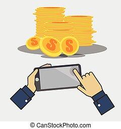 Earnings money through the phone.