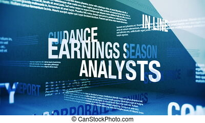 Seamlessly looping animation showing a variety of terms and concepts about earnings season: the busy time of the year for financial markets when quarterly corporate earnings are announced.