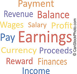 """""""earnings"""", tag, cloud:, synonyms."""