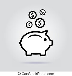 Earnings. Vector icon. Pig on a gray background