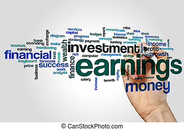 Earnings word cloud concept on grey background