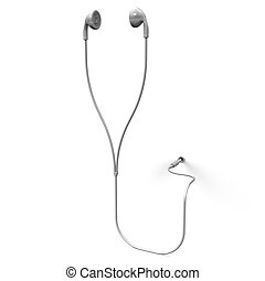 Earphone. 3D render illustration. Isolated on White.