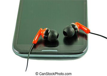 Earphone  and smartphone - Orange earphone and smartphone.