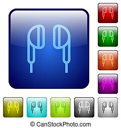 Earphone color square buttons