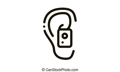 Earphone in Ear Icon Animation. black Earphone in Ear animated icon on white background