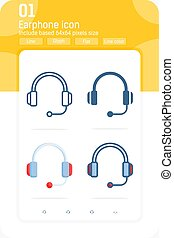 earphone premium icon set with multiple style isolated on white background. Symbol vector Illustration design template for graphic, web design, apps, logo and project. Include 64x64 pixel perfect