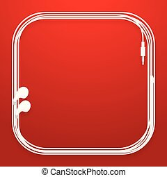 Earphones, Earbud type white color and rounded square frame made from cable isolated on red gradient background, with copy space