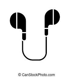 earphones icon, vector illustration, black sign on isolated background