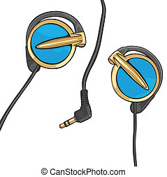 earphones isolated on white - fully editable vector...