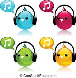 earphones., oiseaux, coloré