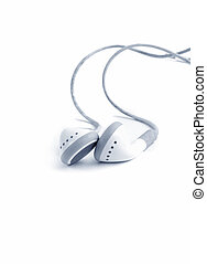 earphones on white background. blue tone