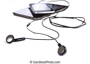 earphones phone tablet isolated