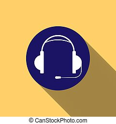 Earphones with microphone on blue round button, long shadow