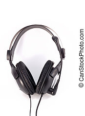 earpiecess - black earpiecess with a microphone on a white...