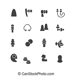 Earplugs flat glyph icons. Healthy sleep without snore, ear safety illustrations. Signs for medical store. Pixel perfect 48x48. Editable Strokes.
