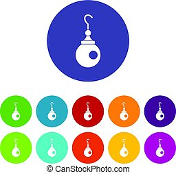 Earring icons set flat vector