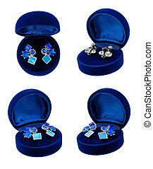 Earring in blue present box